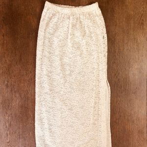 Vintage BCBG Paris Sexy Ivory Lace Long Skirt M